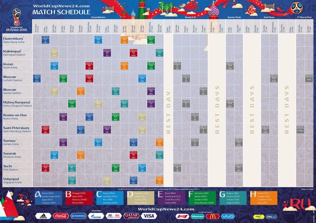 FiFa World Cup 2018 Matches fixtures HD Calendar