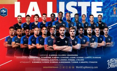 23-men player list for France 2018 World Cup, Schedule & team details
