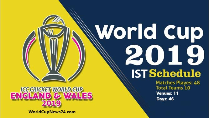 ICC World Cup 2019 Cricket match Schedule PDF in Indian Time (IST)